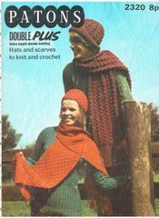 0f1dd5449cc Patons 2320 ladies hat and scarf set to knit and crochet vintage pattern