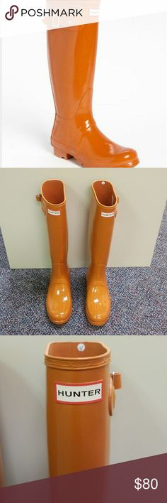 Women's Original Tall Gloss Rain Boots size 8 Hunter Original Tall Gloss Rain Boots. Never worn. Orange - size 8. Listed as orange, per Hunter, but is more like a burnt orange color. Hunter Shoes Winter & Rain Boots