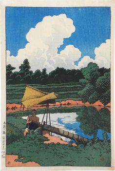 Kawase Hasui (1883-1957): Souvenirs of Travel, Second Series: A Water Conduit, A Scene in Sado, woodblock print, ca. 1921.