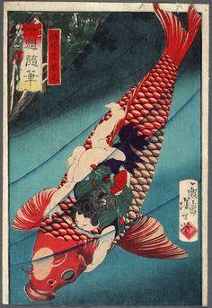 Saitō Oniwakamaru on a Carp - Tsukioka Yoshitoshi — Google Arts & Culture