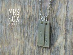 Zilveren (925) Ketting - Handgestempeld - 2 hangertjes aan ballchain - Custom tekst bijv. naam, mama ketting met kind namen of van liefde
