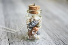 The Mermaid's Collection ed. 2 - Seashell Bottle Necklace - Whimsical Nautical Jewelry - Ocean, Beach Accessory - Nautical Collection