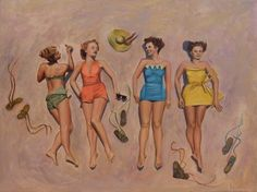 12x16 oil painting of bathing beauties from the 1950's Jeannedecosteart