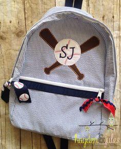 Applique Baseball Seersucker Backpack