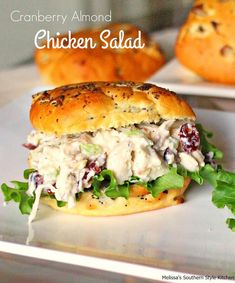 Cranberry Almond Chicken Salad - Chicken salad is something that I love to make ahead and have ready for sandwiches during busy… Hot Chicken Salads, Greek Yogurt Chicken Salad, Chicken Salad Recipes, Chicken Wraps, Cranberry Almond Chicken Salad, Cranberry Crunch Recipe, Cranberry Fruit, Cranberry Recipes, Poppyseed Salad Dressing