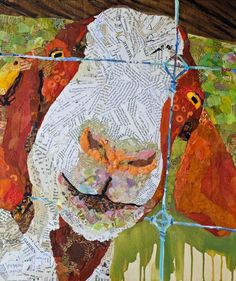 Meticulously torn bits of hand-painted papers, delicately put together, form the exceptionally vibrant collages created by Artist Elizabeth St. Oil Pastel Paintings, Canvas Paintings, Goat Art, Barnyard Animals, Art Addiction, Collage Art, Collages, Painted Paper, Applique Quilts