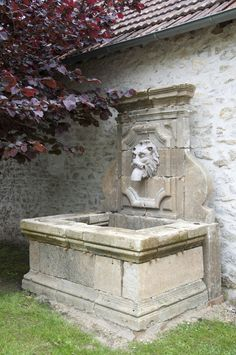 French Louis the 14th style stone wall fountain image 2