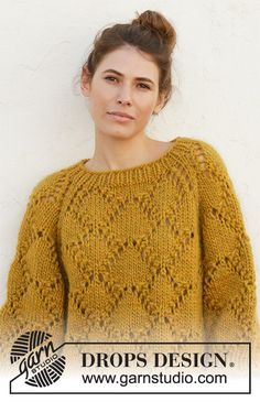 Knitted jumper with raglan with 1 thread DROPS Eskimo or 2 threads Air. The piece is worked top down with lace pattern. Drops Design, Crochet Mask, Crochet Top, Easy Knitting Patterns, Free Knitting, Magazine Drops, Work Tops, Raglan, 9 Mm