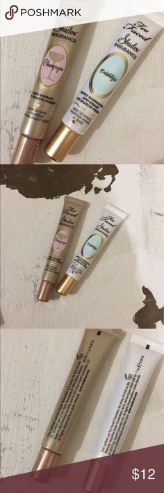 Bundle of 2 Too Faced Eye Shadow Insurance Two gently used tubes of eye shadow insurance by Two Faced Cosmetics.  Champagne & Candlelight 0.35 oz (Full Sized)   Nothing is wrong with them - I have too much makeup and trying to downsize.  I think each one may have been used less than 5 times. Too Faced Makeup Eye Primer