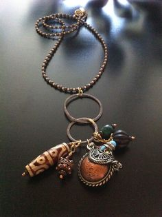 Ethnic Steampunk Necklace with 24K Gold Plated Copper, Etched Dzi Agate, Turquoise, Carved Wood, Copper Bead and Turquoise, Coral and Copper Perfum Bottle with Base Metal Bead Cord