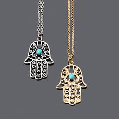 Gold Plated Luck Hamsa Hand Pendants Necklace Luck Fatima Hand Palm Statement Necklace