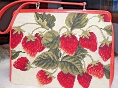 Rare Isabella Fiore Needlepoint Embroidered Strawberry Frame Handbag Purse #IsabellaFiore #ShoulderBag