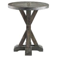 Solid wood end table with a weathered grey finish. Product: End tableConstruction Material: Solid wood and birch...