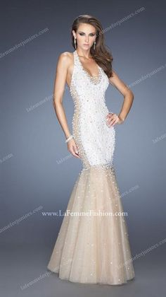 Supreme Sparkles Mermaid Illusion Tulle Lace Evening Gown by La Femme