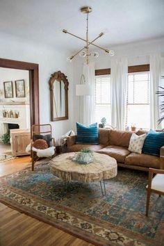 Bohemian Living, Boho Chic Living Room, New Living Room, My New Room, Living Room Furniture, Living Room Decor, Small Living, Mid Century Modern Living Room, Vintage Modern Living Room