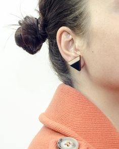 Contemporary Triangle Earrings, Big size: Sides 2 cm, Materials: Wood,Black Plexiglass and Brass ( Studs ). #geometric #minimal #complementary #design #wood #plexiglass #jewelry #essential #deco #double #style #triangle #earring #black #brass #pyramids