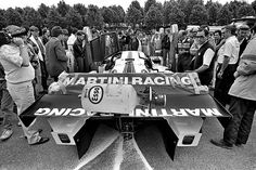 One of the Martini Racing Lancia LC2-85 entries goes through pre-race scrutineering for the 24 Hours of Le Mans FIA World Sports Car Championship race at Circuit de la Sarthe near Le Mans, France, on June 16, 1985.