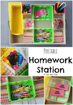 Genius! Portable Homework Station Idea. This is perfect for kids homework. Just pull it out and the kids have everything they need to complete their assignments! Great Back To School Idea
