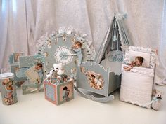 Graphic 45 Little Darlings cradle with mini album, music box, card, clock, powder box