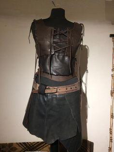 Leather Skirt Black Woman Lagertha Medieval Larp von Elbengard