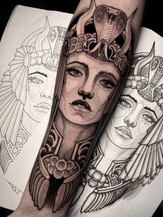 Leg Tattoos Women, Girl Arm Tattoos, Time Tattoos, Body Art Tattoos, Hand Tattoos, Egyptian Queen Tattoos, Egyptian Tattoo Sleeve, Egypt Tattoo, Cleopatra Tattoo
