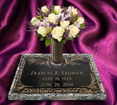 """View More at www.bronzememorials.net and/or call us at 772-924-0083 for your Personal Service. To my new Pinterest pins connections!! I am offering a 10% off coupon to any and all customers who mention our pins on Pinterest, or are referred by you! Mention Pinterest and get 10% OFF.. Reach me by email Info@bronzememorials.net 24"""" x 14"""" MTW_Pine with Rock Ledge Border Garden Vase - Mounted on Moonlight Gray Granite Border Garden, Memorial Markers, Gray Granite, Bronze, Moonlight, Pine, Coupon, It Cast, Memories"""