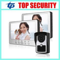 One camera two monitors village office home video door phone door intercom system 7 inch color