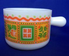 1970s VTG Avon Mug Milk Glass Patchwork Pattern Orange Green Yellow White Cup #Avon