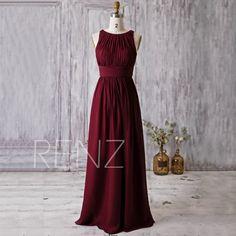 2016 Wine Red Bridesmaid Dress, Scoop Neck Wedding Dress, Long Maxi Dress, Prom Dress, Women Formal Dress, Evening Gown Floor Length (H179A)