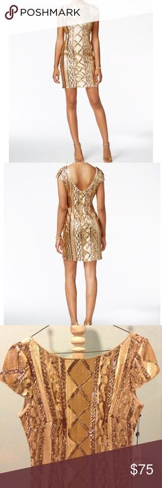 Gold sequin dress Beautiful gold sequin dress!! Never worn, tags still on.   Size 6  Adrianna Papell, purchased from Macy's Adrianna Papell Dresses Mini