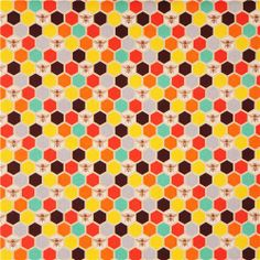 bee echino Canvas fabric brown orange bee honeycomb