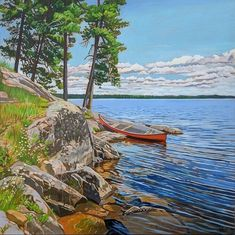 Acrylic on Gallery canvas Lake Opeongo, Algonquin Park Landscape Quilts, Landscape Paintings, Landscapes, Acrylic Painting Canvas, Painting Trees, Algonquin Park, Cottage Crafts, Cool Paintings, Travel Posters