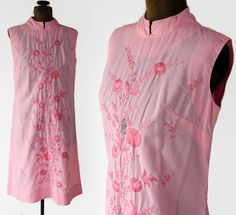 60s Dress Tesoros Shift Dress Nehru Collar Embroidered Pink Ethnic Boho by PetticoatsPlus on Etsy