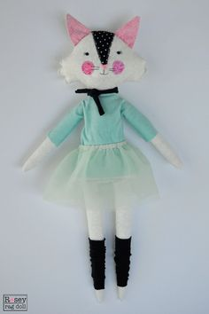 kitty ballerina doll: Calla rosey rag doll modern by roseyragdoll