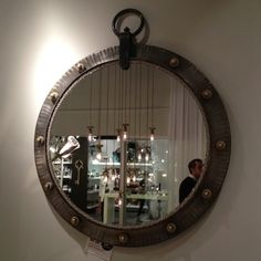 Fab industrial mirror glammed up at Luna Bella in Interhall