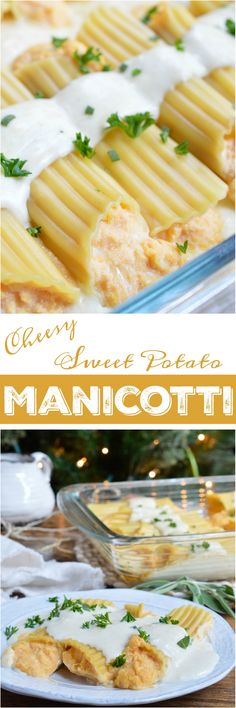 This Sweet Potato Cheese Manicotti Recipe is a new twist on family holiday dinner. Manicotti pasta is stuffed with a ricotta sweet potato mixture and slathered with cheesy sage alfredo sauce! This makes a great meatless holiday meal, side dish or the perfect way to use up those leftovers! #ad #BobEvans