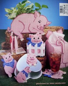 everything plastic canvas | PLASTIC CANVAS PIGS, Pattern Book, Tissue Box Cover, Coasters, Magnets ...