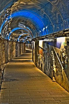 Light tunnel, Cinque Terre, Province of la Spezia , Liguria region Italy