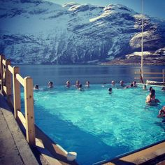 Enjoying the new in- and outdoor pool at Hotel Ullensvang, Hardangerfjord, Norway. www.hotel-ullensvang.no
