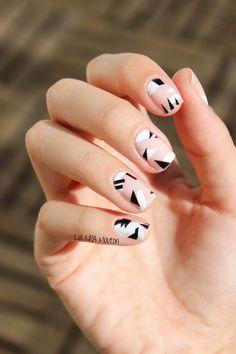 nude geometric nails