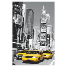 Art.com Wallpaper Mural - New York City Taxis in Times Square, Grey