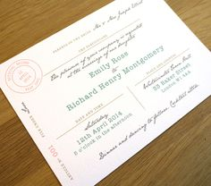 Marriage Certificate Wedding Invitation - 'It's Official' Design - One Sample. $3.75, via Etsy.