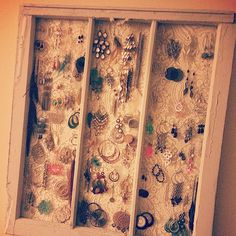 Repurposed vintage lace curtains + old window frame.
