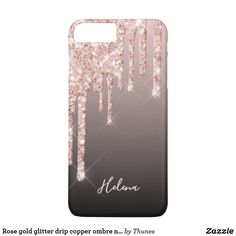 Rose gold glitter drip copper ombre name girly iPhone 8 plus/7 plus case