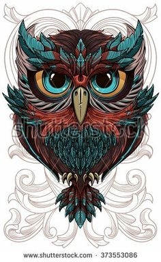 Illustration about Sumptuous owl coloring page in exquisite style. Illustration of outline, black, cover - 60473979 Owl Tattoo Drawings, Art Drawings, Drawing Owls, Tattoo Owl, Owl Tattoo Design, Tattoo Designs, Tatoo Manga, Buho Tattoo, Owl Artwork