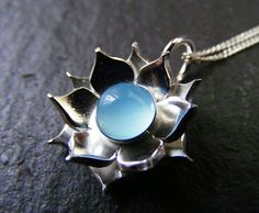 Silver Lotus Flower Blue Chalcedony Pendant necklace by dAgDesigns