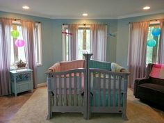 Baby room themes for twins twin baby room boy and girl twin nature themed nursery super . baby room themes for twins Small Twin Nursery, Twin Baby Rooms, Small Nurseries, Nursery Twins, Baby Bedroom, Twin Babies, Nursery Room, Baby Twins, Twin Room