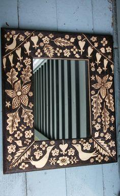custom lovebird flower leaf  frame-romantic rustic night forest ooak design- woodburning woodsy home decor just for you. $90.00, via Etsy.