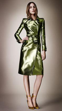 Bright Metallic Trench Coat   Burberry