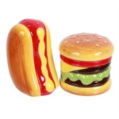 Hotdog and Hamburger Salt and Pepper Shakers Set Ceramic
